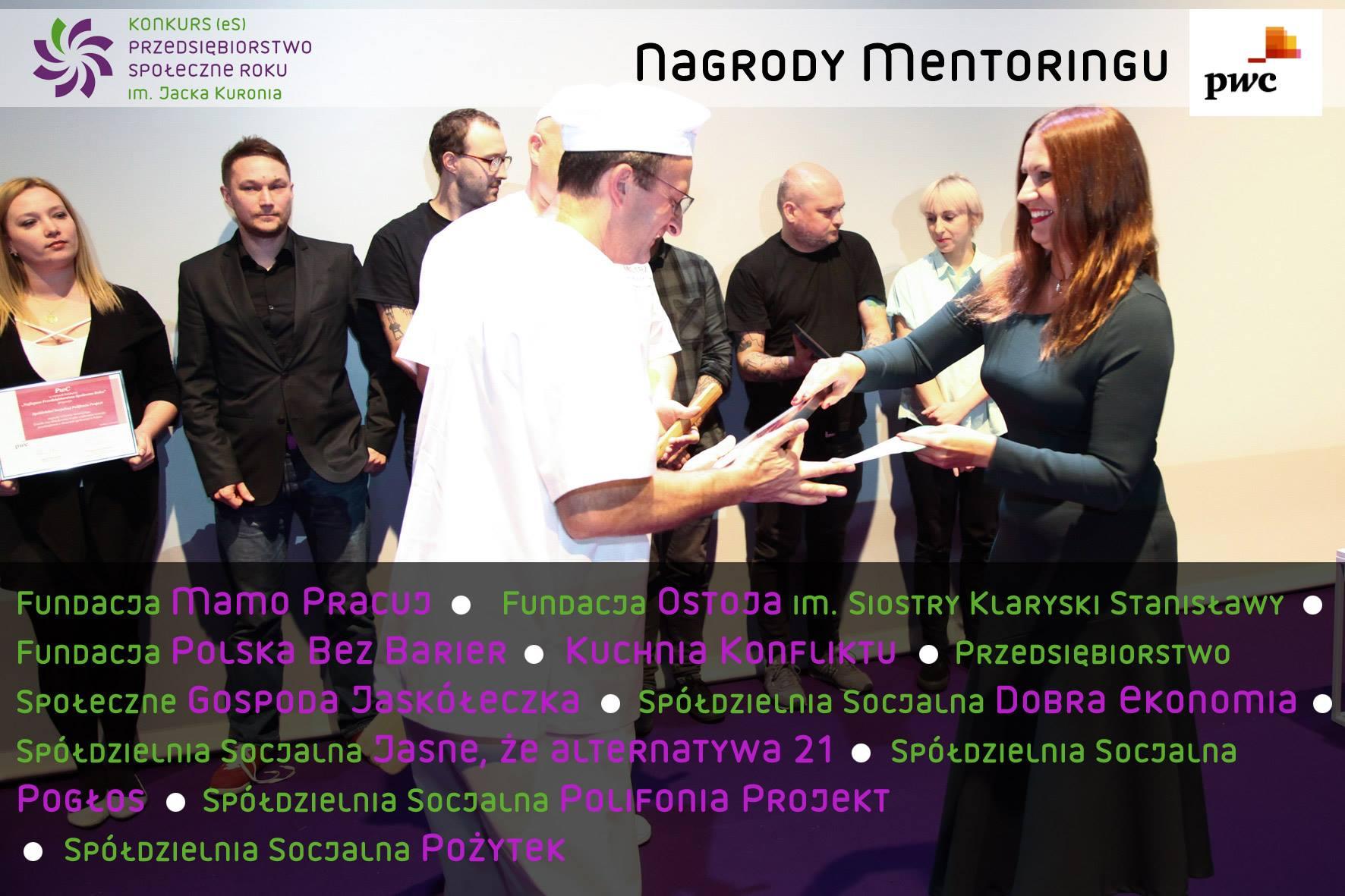 Nagrody Mentoringu PwC dla spółdzielni socjalnych, fot. FISE